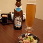 個室ほろり あいう魚、牡蠣くけこ。 - 独歩の牡蠣にあう白ビール