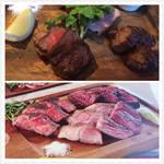 ヴィッラ ビアンキ - 肉盛りビステッカプレート  上が本物。下はメニューの写真。