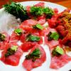 しづき - 料理写真:まぐろのお造り 山葵とトンブリとミント、胡麻、葱