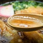 葉隠うどん - 肉ごぼう(出汁)