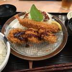とんかつ まい泉 青山本店 - ランチヒレかつ定食+エビフライ