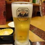 比内や - 生ビール(520円)(お通しは520円と高め)