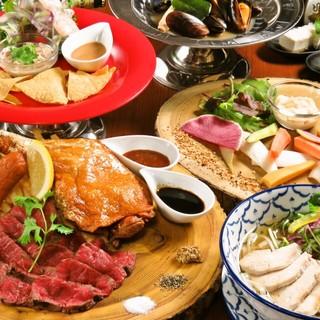大人気の牛サガリステーキ肉盛りコース3500円♪