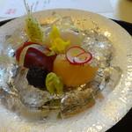 正月屋吉兆 - 造里三種は イシガレイとマグロとすこし炙ったホタテ