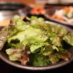 焼肉 乙ちゃん - サニーレタスのサラダアップ