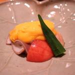 日本料理 e. - 水蛸、夏野菜、イチジクの辛子餡掛け