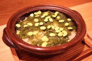 日本料理 e. - 新生姜と枝豆、めかぶの土鍋ご飯
