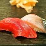 すし吉三平 - 奄美大島 天然マグロ赤身、地鯖