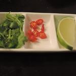 71192065 - トマトの冷やしフォーの薬味セット