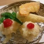 71198271 - 鱧・加賀南瓜・万願寺獅子唐・緑竹の天ぷら。