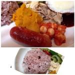 ヒッコリー - ◆「レンズ豆」「かぼちゃサラダ」「ソーセージ」などはお味代わりにいいですね。 *雑穀米は量が少なく私で丁度いい程度ですので、沢山召し上がりたい方には物足りないかもしれません。