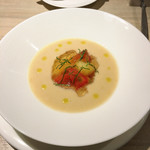 71210356 - 白桃とフルーツトマトの冷たいスープ
