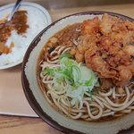 六文そば - たぬきそば+カレーセット(480円)+ゲソ天(150円)
