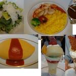 71230749 - オムライス,オマール海老と帆立貝のカリーサフランライスを添えて,シーザーサラダ,国産黄金桃と白桃のオリエンタルパフェ,チョコレートパフェ