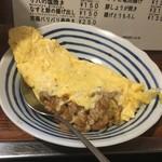 晩杯屋 - ◆納豆オムレツ  150円  卵2個に納豆1個。 メニューの商品名の注釈に「味の素をかけると猛烈に美味しくなる」と。