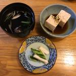 志んぼ - お豆腐・肝吸い・漬物