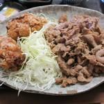 野方食堂 - 料理写真:A定食の豚肉生姜焼き2倍のおかず
