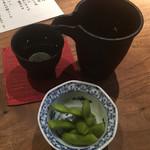 やす田 - 獺祭&お通しの枝豆