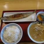 町田木曽食堂 - 焼きサンマ定食