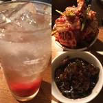 おやじのおとうと - 梅強い赤坂ハイと生キムチと青唐辛子の醤油漬