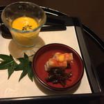 71273589 - 前菜は加賀野菜のの打木赤皮甘栗かぼちゃのすり流し、海老蒲鉾とごりの佃煮