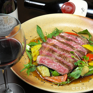系列店ならではの上質な肉、地元産の新鮮野菜を中心とした料理