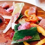 71280889 - ○鮮魚のカルパッチョ 畑から採れたての色々なお野菜と様