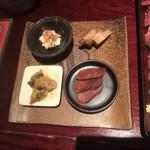 たのしや - アテの盛り合わせ(もろみ豆腐、いぶりがっこ、牡蠣の燻製、焼きからすみ)