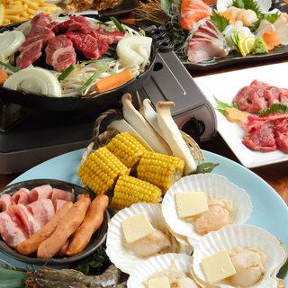 宴会は北の新鮮食材と炭火焼で豪華に!
