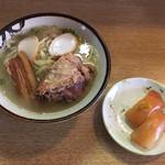 71297104 - 「お得セット(三枚肉とソーキ入りそばに大東寿司2貫)」800円