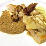 713538 - (08/8ディナー)いわい鶏木の子の香り焼き そのレバーと枝豆のピューレ
