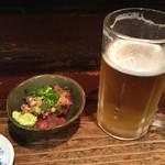 小菊 - お通しと生ビール