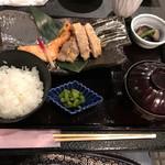 村民食堂 - 豚肉と信州サーモンの粕味噌焼き定食【1700円】