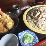 滝野庵 - 天丼セット(もりそば)1,050円