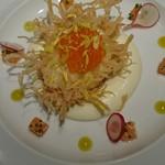 L'ATELIER de Joel Robuchon - 半熟卵 ブリックをまとわせて揚げ コンテチーズとスモークサーモンのハーモニーで