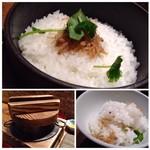 九州の旬 博多廊 - 季節の釜飯・・この日は「ちりめん山椒」。炊きたてでご飯もツヤツヤで美味しいこと。 お茶碗に3膳分以上あります。私には量が多く、完食できなかったのが残念で・・