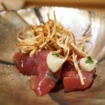 寿しの吉乃 - 鰹のヅケ、エシャレット、焼き茄子のピューレ