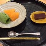 御りょうり屋 伊藤 - 抹茶アイス メロン 自家製水羊羹