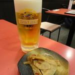 江南 - 生ビールセット(1,350円)の生とピリ辛メンマ