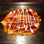 千の台所 - 明太もちチーズのお好み焼き