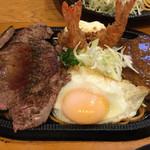 ゴジュウバン - 連れは、セット(1) ¥1580。 ステーキ、ハンバーグ、エビフライ。 おかずのヒーロー大集合だ!