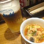 六もん - ビールにお通し(鰻の玉子とじ)