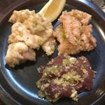 焼肉 燕 - 内臓3点盛り 1200円 (ミノ、ホルモン、レバ)