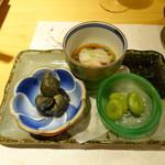 柳家錦 - こんにゃくソーメン、小茄子の煮びたし、ソラマメ
