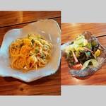 カナデ - エビ・バジル・夏野菜のトマトクリームパスタとサラダ 900円