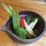そば二十三 - 「夏野菜のお浸し」