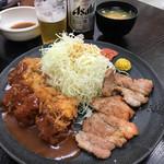 味の店 一番 - A一口カツ+Bポークステーキ 定食 1,300円