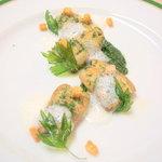コワン ドゥ フルノー - 料理写真:うなぎのポワレ パセリソースとにんにくの泡