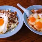 大黒屋飯店 - 左:カレー玉子飯   右:焼豚玉子飯