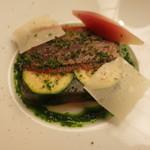 マダム・トキ - マグロ中トロのグリエと南仏野菜のテリーヌ みょうがのピクルスを添えて ズッキーニ 夏茄子 パプリカ